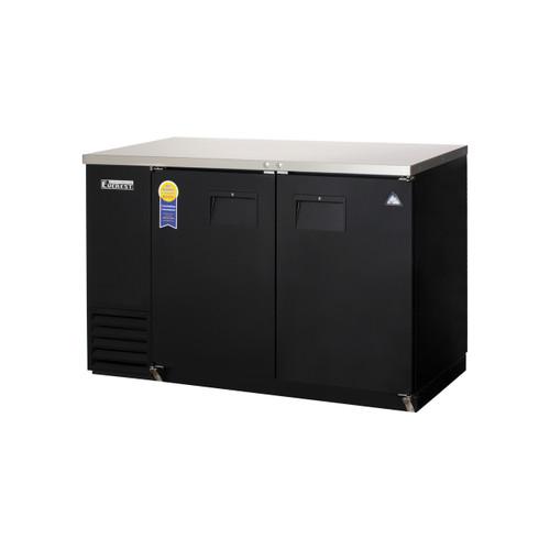 """Everest Refrigeration EBB48-24 49"""" Black Two Section Solid Door Back Bar Cooler - 13.95 Cu. Ft., 24"""" deep"""