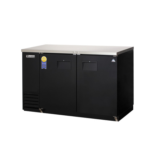 "Everest Refrigeration EBB59-24 57.75"" Black Two Section Solid Door Back Bar Cooler - 16.86 Cu. Ft., 24"" deep"