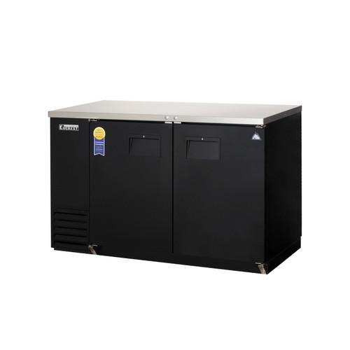 """Everest Refrigeration EBB59-24 57.75"""" Black Two Section Solid Door Back Bar Cooler - 16.86 Cu. Ft., 24"""" deep"""