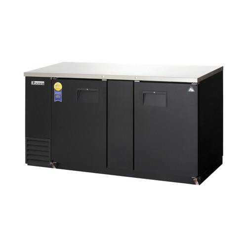 """Everest Refrigeration EBB69-24 68"""" Black Two Section Solid Door Back Bar Cooler - 20.41 Cu. Ft., 24"""" deep"""