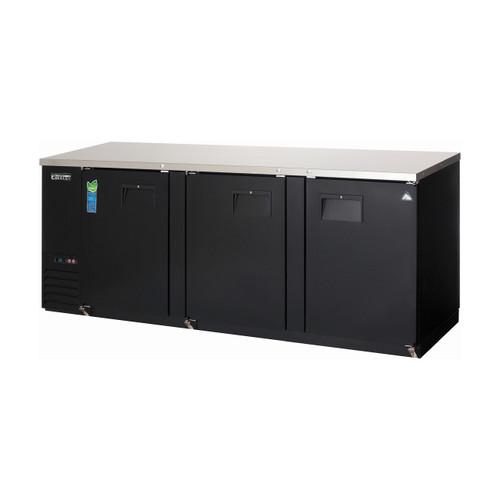 """Everest Refrigeration EBB90-24 Black Three Section Solid Door Back Bar Cooler - 27.76 Cu. Ft., 24"""" deep"""