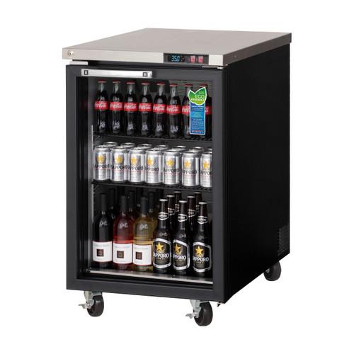 """Everest Refrigeration EBB23G 23.5"""" Black One Section Glass Door Back Bar Cooler - 8.19 Cu. Ft."""