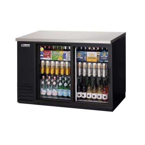 """Everest Refrigeration EBB48G-SD 49"""" Black Two Section Sliding Glass Door Back Bar Cooler - 13.95 Cu. Ft."""