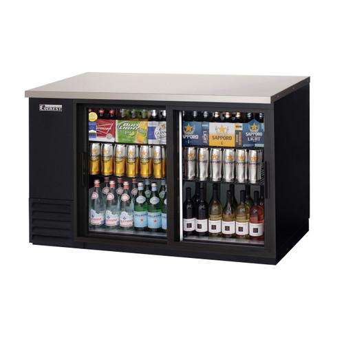 """Everest Refrigeration EBB59G-SD 57.75"""" Black Two Section Sliding Glass Door Back Bar Cooler - 16.86 Cu. Ft."""