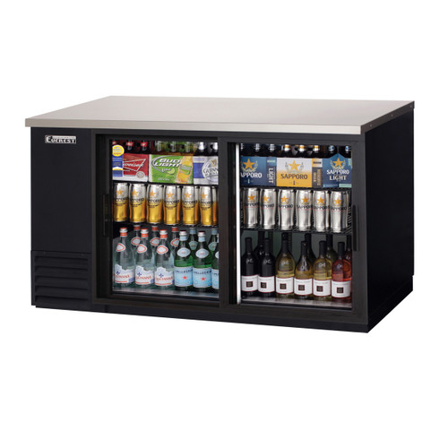 "Everest Refrigeration EBB69G-SD 68"" Black Two Section Sliding Glass Door Back Bar Cooler - 20.41 Cu. Ft."