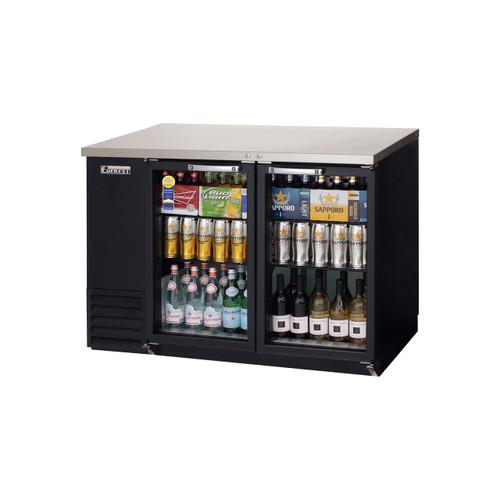 """Everest Refrigeration EBB48G-24 49"""" Black Two Section Glass Door Back Bar Cooler - 13.95 Cu. Ft., 24"""" deep"""