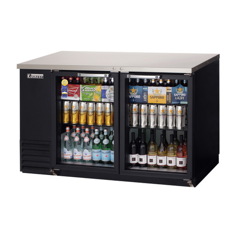 "Everest Refrigeration EBB59G-24 57.75"" Black Two Section Glass Door Back Bar Cooler - 16.86 Cu. Ft., 24"" deep"