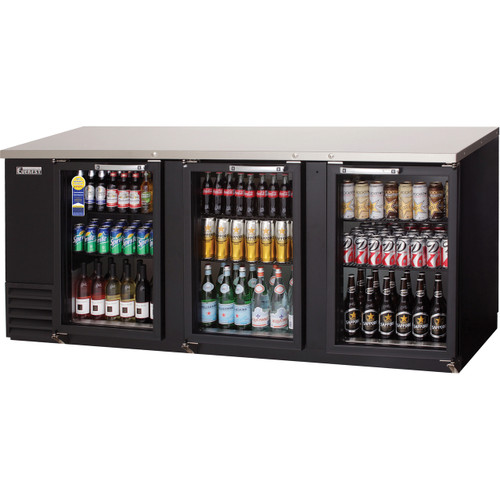 "Everest Refrigeration EBB90G-24 89.25"" Black Three Section Glass Door Back Bar Cooler - 27.76 Cu. Ft., 24"" deep"