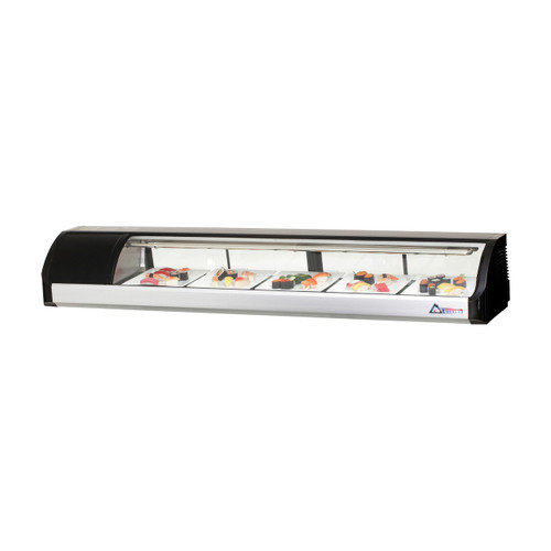 """Everest Refrigeration ESC71L 71"""" Left Compressor Curved Glass Refrigerated Sushi Case - 2.54 Cu. Ft."""