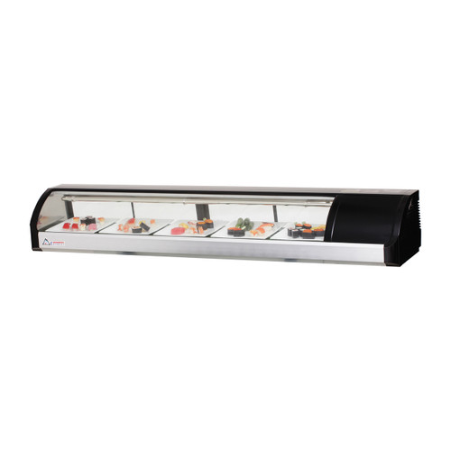 "Everest Refrigeration ESC71R 71"" Right Compressor Curved Glass Refrigerated Sushi Case - 2.54 Cu. Ft."