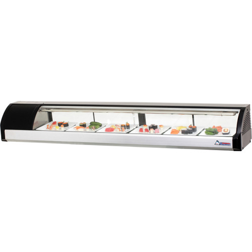 "Everest Refrigeration ESC83L 82.75"" Left Compressor Curved Glass Refrigerated Sushi Case - 3.07 Cu. Ft."