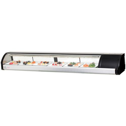 "Everest Refrigeration ESC83R 82.75"" Right Compressor Curved Glass Refrigerated Sushi Case - 3.07 Cu. Ft."