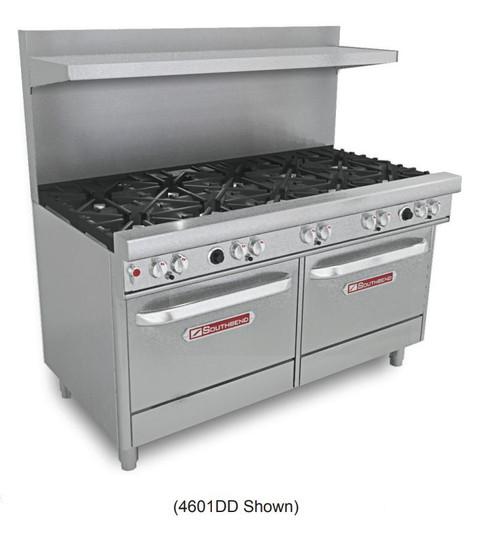 """Southbend 4601DD 60"""" Gas Range, 10 Burners, 2 Standard Ovens"""