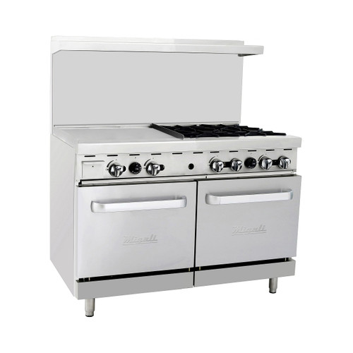 "Migali C-RO4-24GL 48"" Range With Griddle - 188,000 BTU, Gas (C-RO4-24GL)"