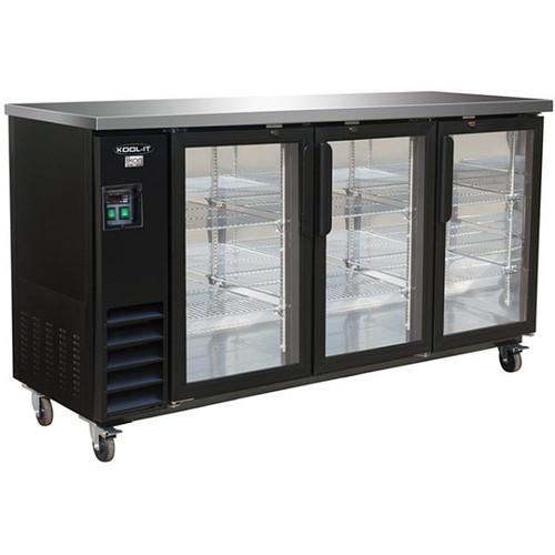 "Ikon Series IBB73-3G-24 73"" Back Bar Refrigerator, 3 Swing Doors"