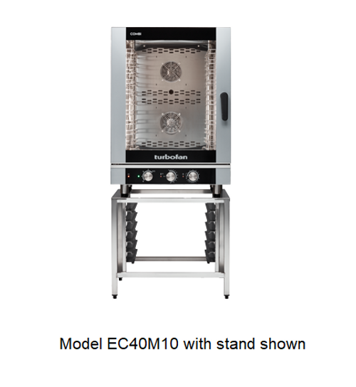 Moffat EC40M10-SK40-10A 10 Tray Full Size Steam Pan Manual Control Electric Combi Oven - with SK40-10A Stand
