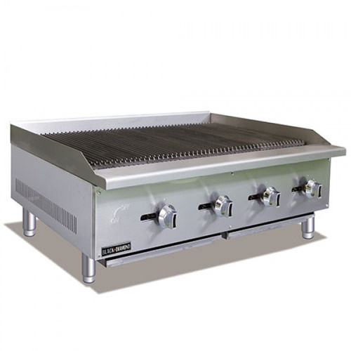 "Adcraft BDECTC-48/NG 48"" Standard Series Radiant Gas Countertop Charbroiler - 4 Burner - 120K BTU"