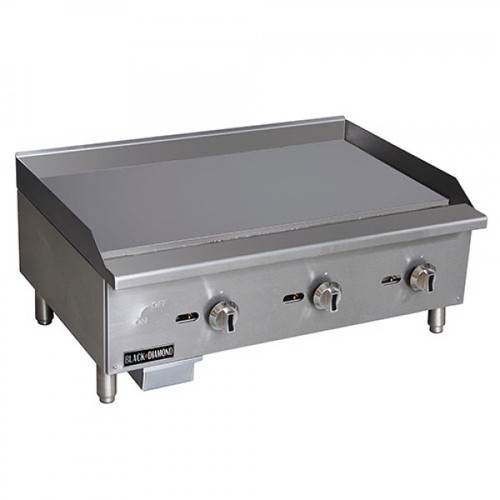 "Adcraft BDECTG-36/NG 36"" Standard Series Radiant Gas Countertop Griddle - 3 Burner - 90K BTU"