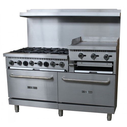 "Adcraft BDGR-6024GB/NG 60"" Gas Range w/ Oven and Raised 24"" Griddle - 6 Burners - 276K BTU"