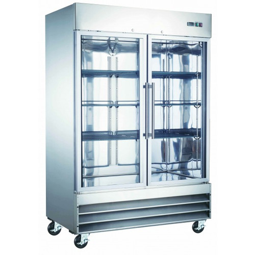"Adcraft USRF-2D-G 54"" Glass Door Reach-In Refrigerator - 48 Cu. Ft."