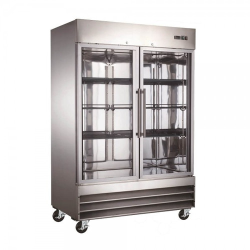 "Adcraft USFZ-2D-G 54"" Glass Door Reach-In Freezer - 48 Cu. Ft."