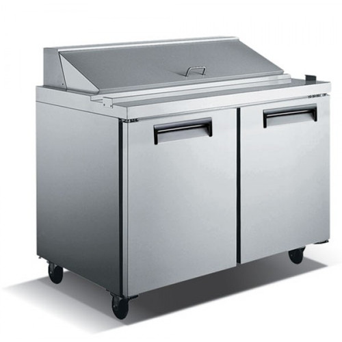 "Adcraft USSL-2D/60 60"" Refrigerated Salad Sandwich Prep Table - 2 Door - 15 Cu. Ft."