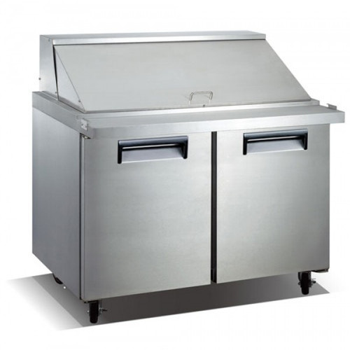 "Adcraft USSLM-2D 47"" Refrigerated Mega Top Salad Sandwich Prep Table - 2 Door - 12 Cu. Ft."