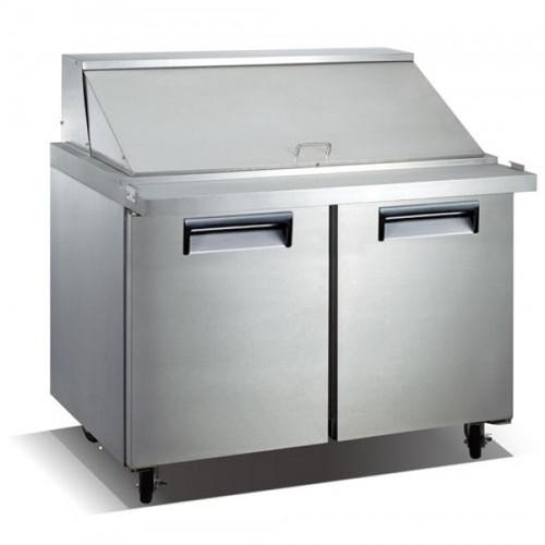 "Adcraft USSLM-2D 47"" Refrigerated Mega Top Salad Sandwich Prep Table - 2 Door - 12 Cu. Ft."