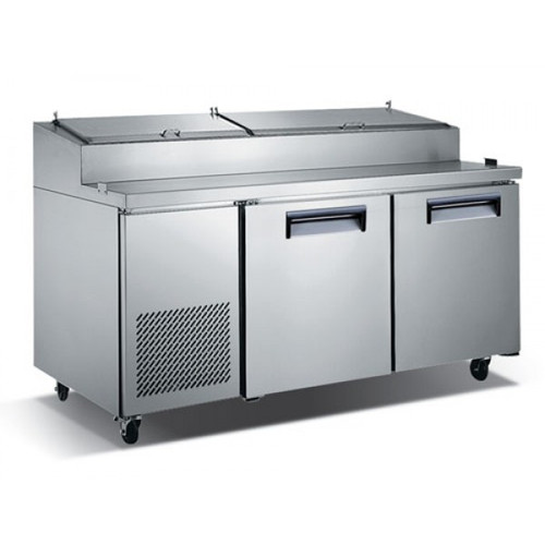 "Adcraft USPZ-2D 71"" Refrigerated Pizza Prep Table - 2 Door - 16 Cu. Ft."