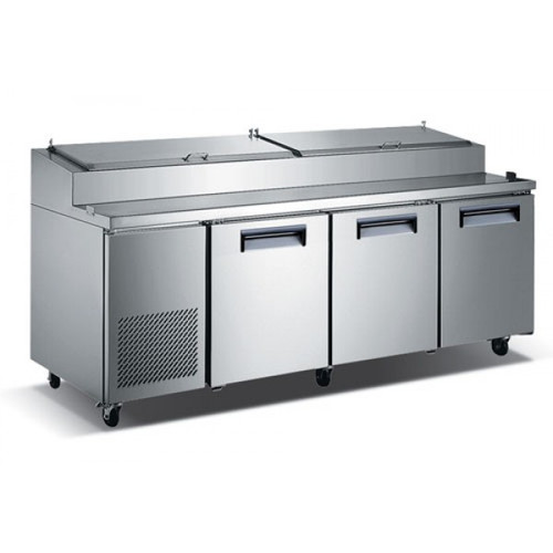"Adcraft USPZ-3D 92"" Refrigerated Pizza Prep Table - 3 Door - 24 Cu. Ft."