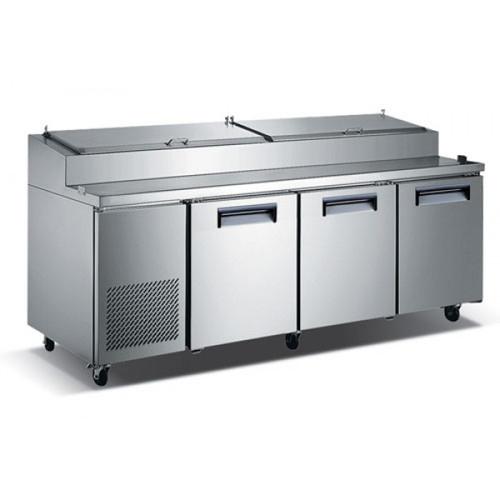"Adcraft USPZ-3D 92"" Refrigerated Pizza Prep Table - 3 Door - 24 Cu. Ft."