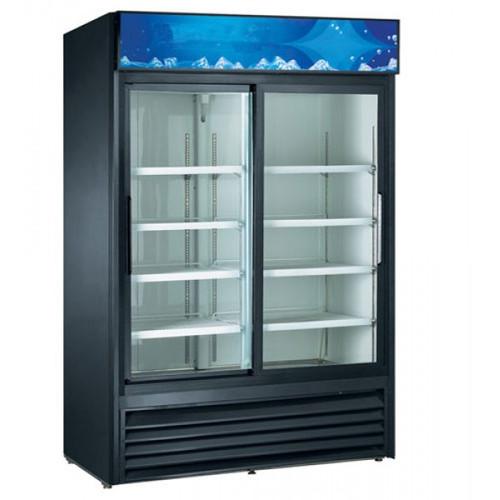 """Adcraft USRFS-2D/B 53"""" Swing Glass Door Merchandiser Refrigerator - 2 Door, 47 Cu. Ft. - Black"""