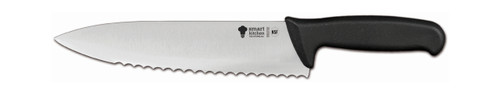 """Smart Kitchen Solutions 06-710B Serrated 9.5"""" Chef Knife, Black Handle"""