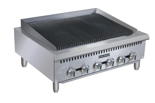 "Adcraft BDCTC-36 36"" Heavy Duty Radiant Gas Countertop Charbroiler, 6 Burners, 120K BTU"