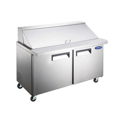 "Adcraft GRSLM-2D 47"" Mega Top Salad Sandwich Prep Table, 2 Section, 12 Cu./Ft."