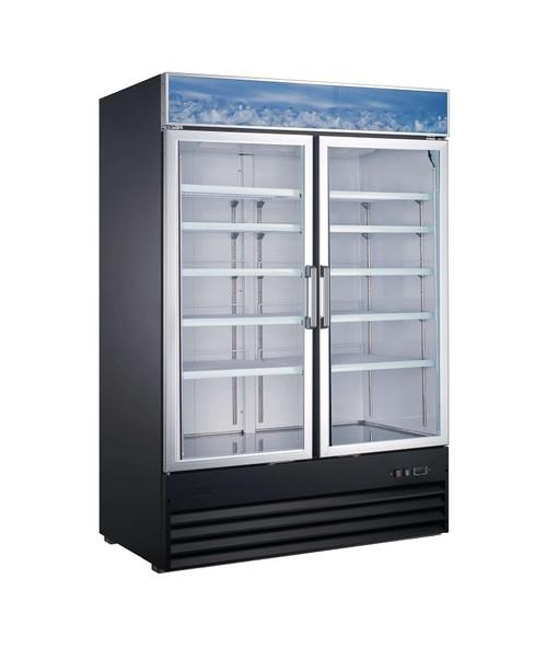 """Adcraft USRFS-2D/54 54"""" Glass Door Merchandising Refrigerator - 45 Cu. Ft. - Black"""