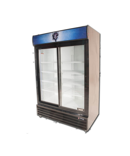 "Bison BGM-49-SD 52"" Two Section Glass Door Reach-In Refrigerator - Slide Door - 48 cu. ft. (BGM-49-SD)"