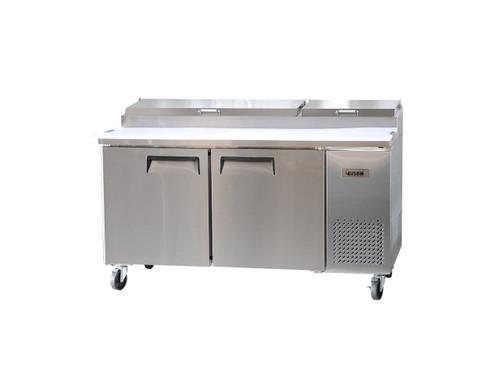 """Bison BPT-67 67"""" Pizza Prep Table - 2 Solid Door - 20 cu. ft. (BPT-67)"""