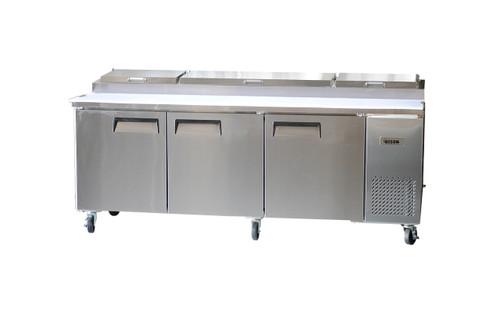 """Bison BPT-93 93"""" Pizza Prep Table - 3 Solid Door - 26 cu. ft. (BPT-93)"""
