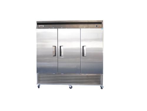 "Bison BRF-71 82"" Stainless Steel Reach-In Freezer - 3 Door - 71 cu.ft. (BRF-71)"