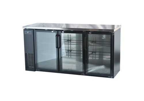 "Spartan SGBBB-72 72"" Back Bar Cooler - Black Vinyl - Glass Door - 19 cu. ft. (SGBBB-72)"