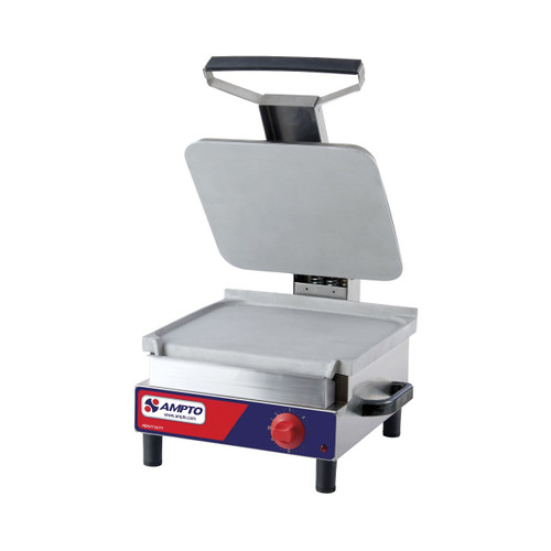 "Ampto SASL Flat Electric Panini Grill, 13"" x 14"", 120V"