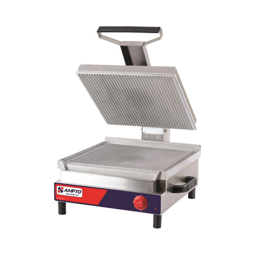 "Ampto SSGE Ribbed Electric Panini Grill, 17"" x 18"", 120V"