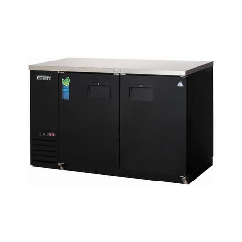 """Everest Refrigeration EBB48 49"""" Black Two Section Solid Door Back Bar Cooler - 13.95 Cu. Ft."""