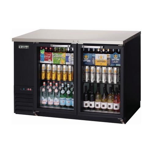 """Everest Refrigeration EBB48G 49"""" Black Two Section Sliding Glass Door Back Bar Cooler - 13.95 Cu. Ft."""