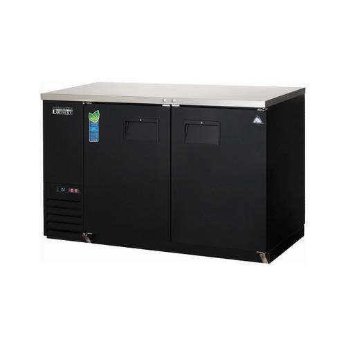"""Everest Refrigeration EBB59 57.75"""" Black Two Section Solid Door Back Bar Cooler - 16.86 Cu. Ft."""