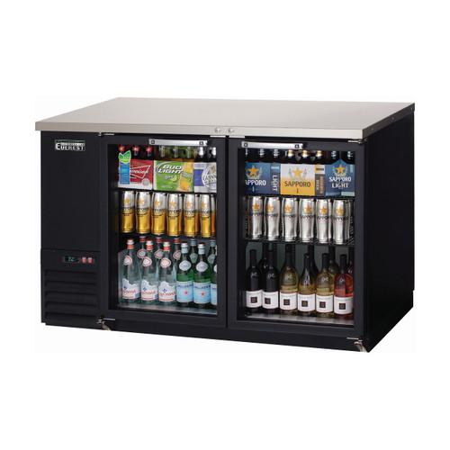 """Everest Refrigeration EBB59G 57.75"""" Black Two Section Glass Door Back Bar Cooler - 16.86 Cu. Ft."""