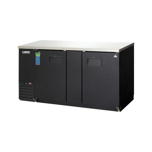 """Everest Refrigeration EBB69 68"""" Black Two Section Solid Door Back Bar Cooler - 20.41 Cu. Ft."""