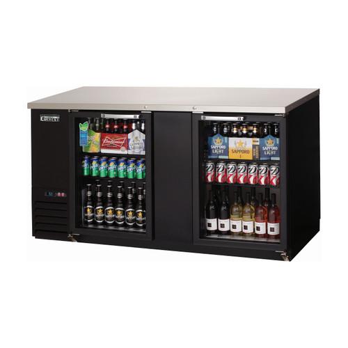 """Everest Refrigeration EBB69G 68"""" Black Two Section Glass Door Back Bar Cooler - 20.41 Cu. Ft."""
