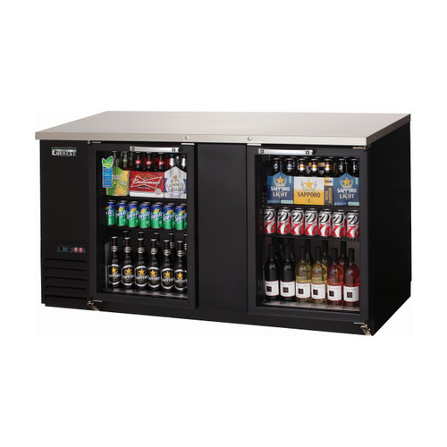 "Everest Refrigeration EBB69G 68"" Black Two Section Glass Door Back Bar Cooler - 20.41 Cu. Ft."